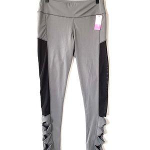 Legging Park Gray, Black mesh sides leggings, NWT